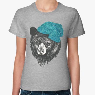Женская футболка Медведь в шапке
