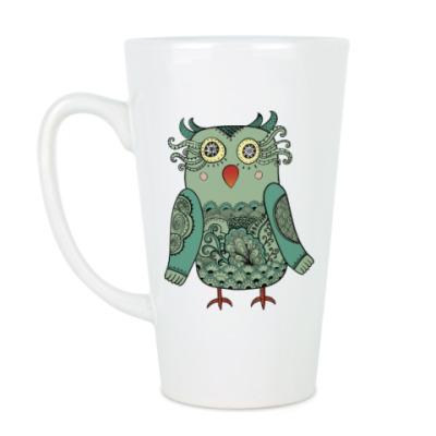 Чашка Латте Зеленая лесная совушка