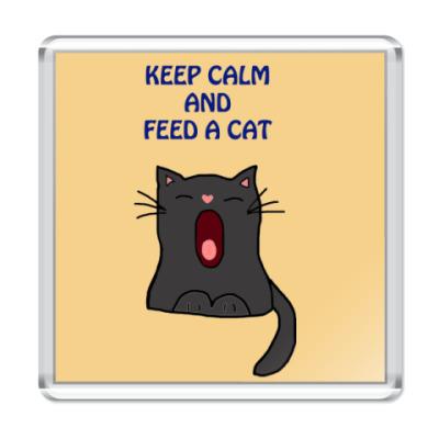 Магнит Keep calm and feed a cat
