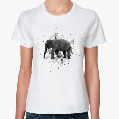 Классическая футболка Геометрический Слон