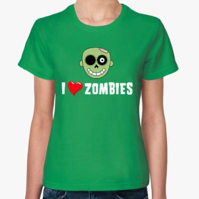 Женская футболка I love zombies