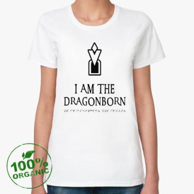 Женская футболка из органик-хлопка Dragonborn Skyrim