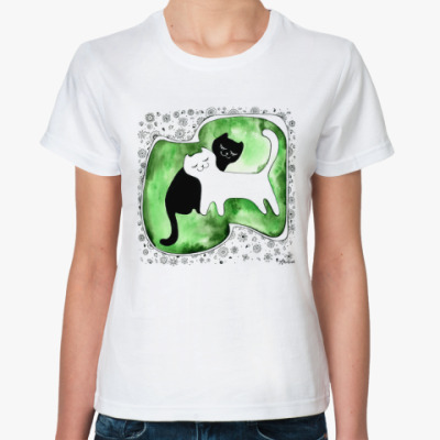 Классическая футболка 'Коты Инь и Янь'