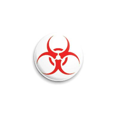 Значок 25мм Biohazard красный