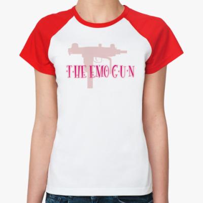 Женская футболка реглан  'The emo gun'