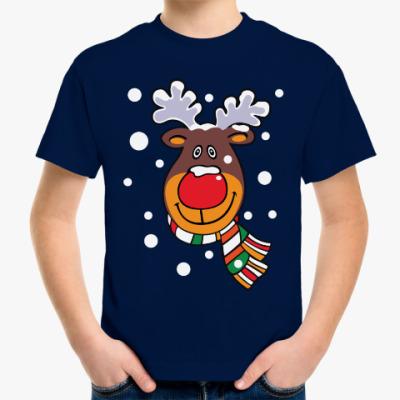 Детская футболка Олень с шарфом