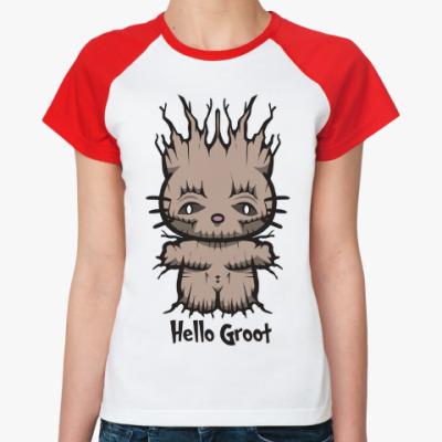 Женская футболка реглан Привет Грут