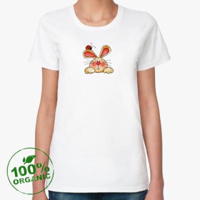 Женская футболка из органик-хлопка зайчик