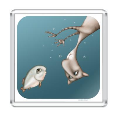 Магнит  Кот и рыба