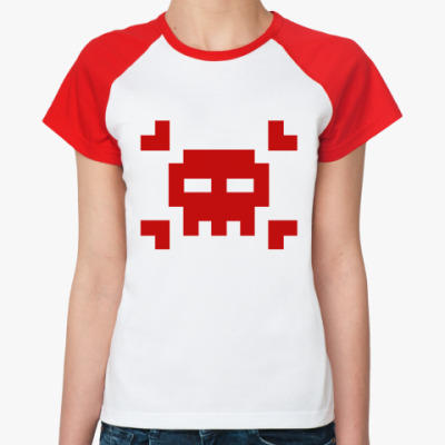 Женская футболка реглан 8bit skull  Ж (б/к)