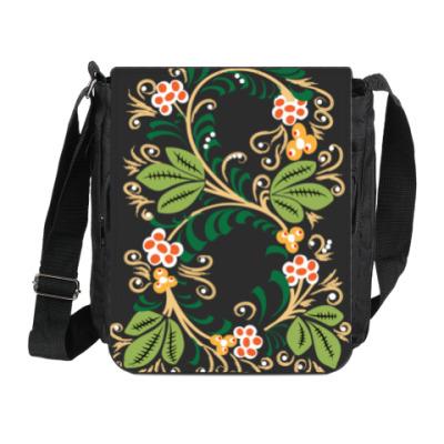 Сумка на плечо (мини-планшет) Узор. Листья и ягоды.