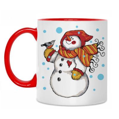 Кружка Снеговик и снегирь