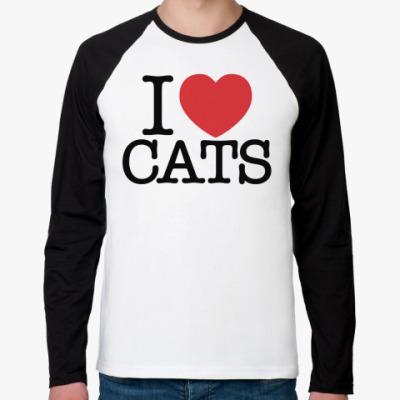 Футболка реглан с длинным рукавом i love cats!