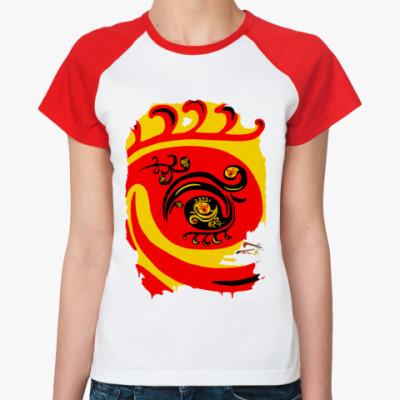 Женская футболка реглан  Фракт. Хохлома