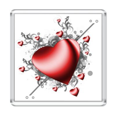 Магнит  'Сердце в сердечках'