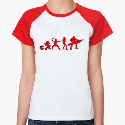 Женская футболка реглан Эволюция игры