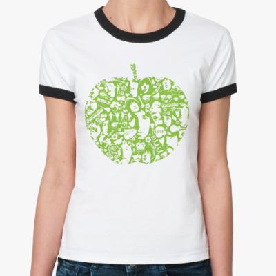 Женская футболка Ringer-T Beatles Apple Ж()