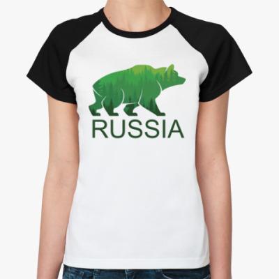 Женская футболка реглан Россия, Russia