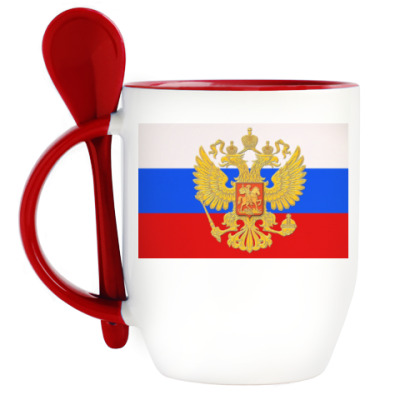 Кружка с ложкой Герб России на фоне флага