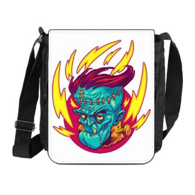 Сумка на плечо (мини-планшет) Франкенштейн в огне