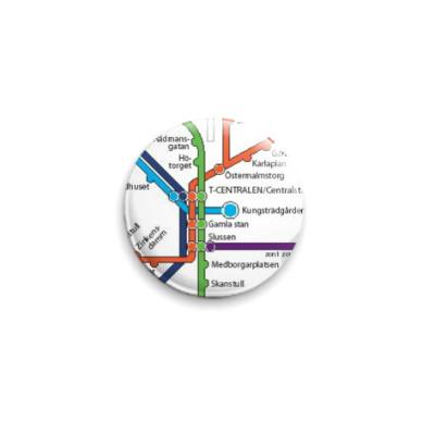Значок 25мм метро Стокгольма