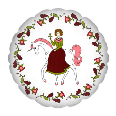 Russian folk flower ornament. Girl and unicorn