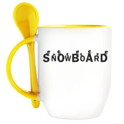 Кружка с ложкой Snowboard