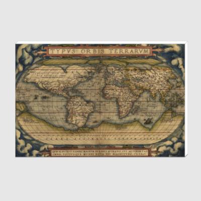 Холст Старинная карта мира