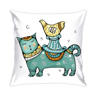 Подушка Кот и птица