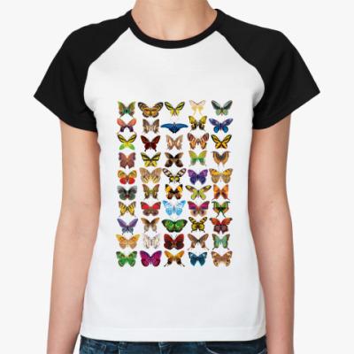 Женская футболка реглан бабочки