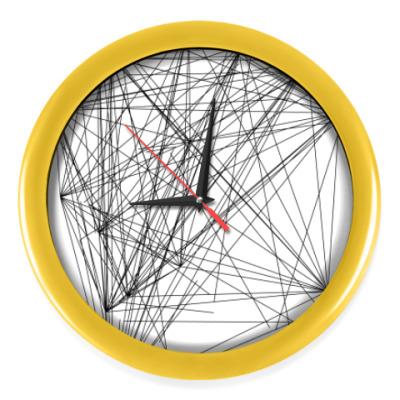 Настенные часы линейная абстракция с желтым оботком