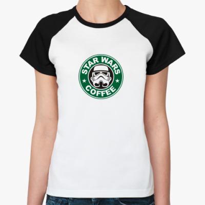 Женская футболка реглан starwarscoffee