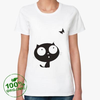 Женская футболка из органик-хлопка котенок с бабочкой