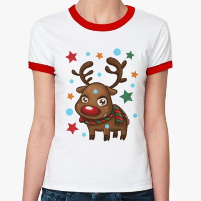 Женская футболка Ringer-T Олень со звёздами
