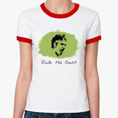 Женская футболка Ringer-T Федерер - Управляй кортом