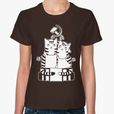 Женская футболка Котики ретро СССР