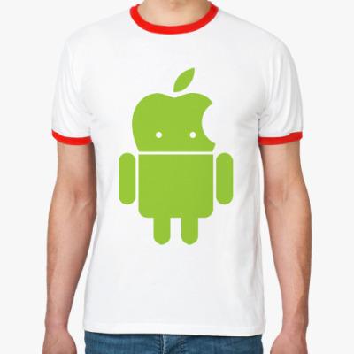 Футболка Ringer-T Андроид голова-яблоко