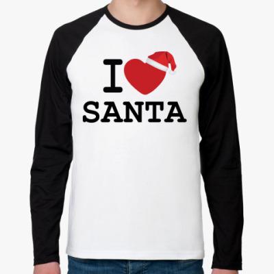 Футболка реглан с длинным рукавом Новогодний принт I Love Santa