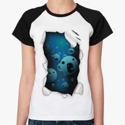 Женская футболка реглан 'Смайлы'