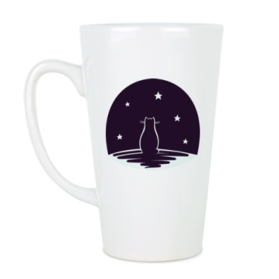 Чашка Латте Кот и звезды