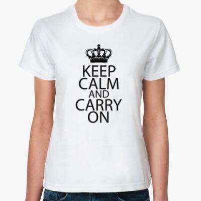 Классическая футболка  Keep Calm and carry