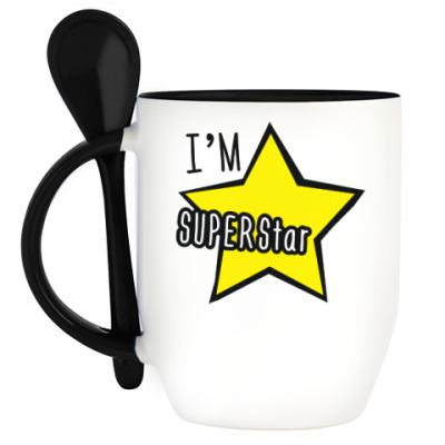 Кружка с ложкой I'm Superstar