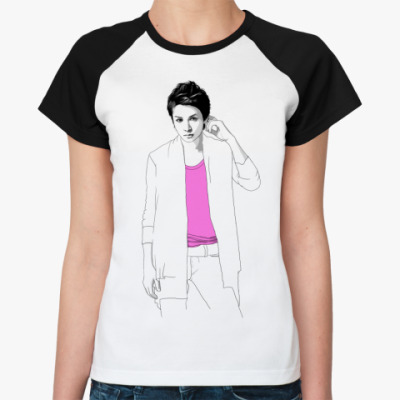 Женская футболка реглан Ж.ф. ргелан () Тома rose