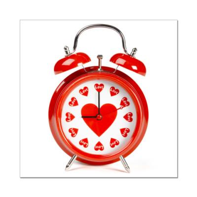 Наклейка (стикер) Часы-сердце