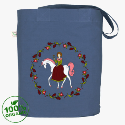 Russian folk flower ornament. Girl and unicorn