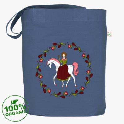 Сумка Russian folk flower ornament. Girl and unicorn
