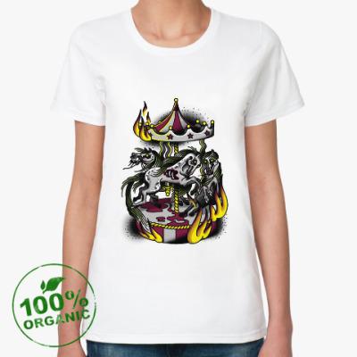 Женская футболка из органик-хлопка zombie horses