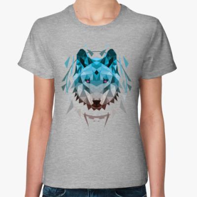 Женская футболка Геометрический Волк