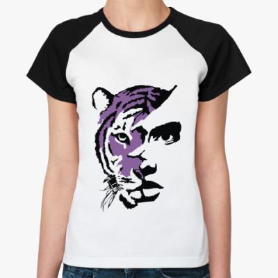Женская футболка реглан Тигр фиолетовый