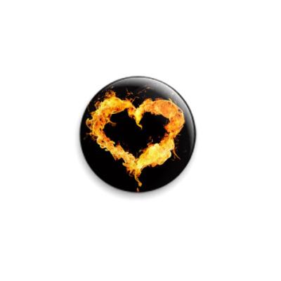 Значок 25мм Сердце в огне